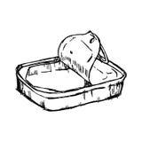 例证传染媒介手被隔绝的空的锡罐凹道乱画  免版税库存照片