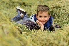 例证分层堆积对象的梦想家分隔小的向量 小男孩在干草堆放松 作白日梦在干草堆小山的小男孩 寻找大海捞针 库存图片