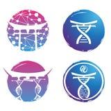 例证商标设计脱氧核糖核酸五颜六色在白色背景 图库摄影