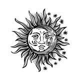 例证太阳月亮星人面减速火箭的葡萄酒传染媒介民间传说 免版税库存照片