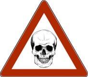 例证头骨危险签到白色背景 向量 库存例证