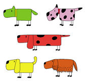 例证套五滑稽的狗 免版税库存照片