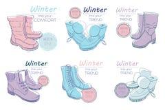 例证套剪影起动,鞋子为冬天 冷天的海报减速火箭的样式 与葡萄酒的手拉的元素 皇族释放例证