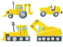例证套四台不同拖拉机 免版税图库摄影