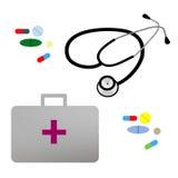 例证平的听诊器,急救工具和 免版税库存照片