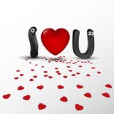 例证我爱你,传染媒介,心脏, 3D作用 免版税库存图片