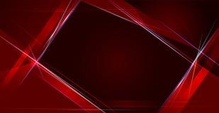 例证抽象红色和黑金属与光线和光滑的线 金属背景的框架设计 向量例证