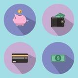 例证是一个象和储款标志,例如存钱罐的下落 能为各种各样的媒介使用 图库摄影