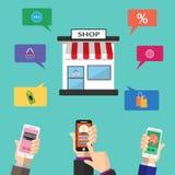 例证是流动网上购买通过应用 有许多选择可利用通过象 可以是u 免版税库存照片