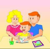 例证显示儿童` s教育的父母的照料 库存图片