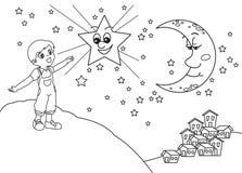 例证晚上满天星斗的向量 免版税库存照片