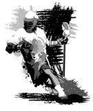 例证曲棍网兜球球员剪影 库存照片