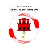 例证有直布罗陀-红色城堡和贿赂的视域的直布罗陀国庆节在时髦样式 9月10日设计templ 库存照片