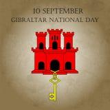例证有直布罗陀-红色城堡和贿赂的视域的直布罗陀国庆节在时髦样式 9月10日设计templ 免版税库存图片