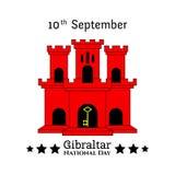 例证有直布罗陀-红色城堡和贿赂的视域的直布罗陀国庆节在时髦样式 9月10日 图库摄影