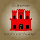 例证有直布罗陀-红色城堡和贿赂的视域的直布罗陀国庆节在时髦样式 9月10日 库存照片