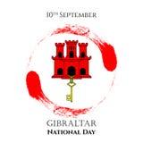 例证有直布罗陀-红色城堡和贿赂的视域的直布罗陀国庆节在时髦样式 9月10日 免版税库存图片