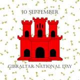 例证有直布罗陀-红色城堡和贿赂的视域的直布罗陀国庆节在时髦样式 9月10日 免版税图库摄影
