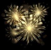 例证欢乐宏伟的烟花爆炸破裂闪耀在黑背景传染媒介eps10 皇族释放例证