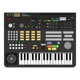 例证设计艺术经典技术表现钥匙钢琴 专业作曲家synhesizer音乐商标 媒介立体声低音 向量例证