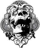 例证邪恶盾的头骨 向量例证