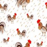 例证,描述在白色背景的样式色的雄鸡 向量 库存照片