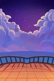 例证:与云彩的美好的繁星之夜 阳台视图 现实动画片样式场面/墙纸/背景设计 免版税库存图片