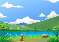 例证:春天:由美好的河边的小犬座与绿草和小的花 图库摄影