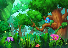 例证:有绿色树的老成长森林、草和花和鸟 库存例证