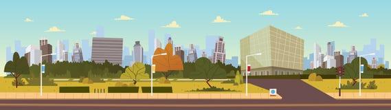 例证:未来城市风景动画片传染媒介例证 编译的现代集 库存图片