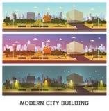 例证:未来城市风景动画片传染媒介例证 编译的现代集 免版税库存图片