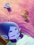 例证:雪公主Sleeps 在她的梦想她成为飞行到她的世界的水下落 免版税库存照片