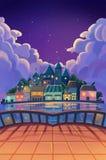 例证:从阳台的美好的镇视图在繁星之夜 免版税库存图片