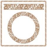例证 作为无刺指甲花被传统化的无缝的样式 免版税库存照片