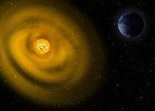 例证 行星地球和太阳 免版税库存照片