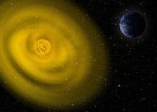例证 行星地球和太阳 免版税库存图片