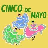 例证Cinco De马约角节日 舞蹈 墨西哥海报-传染媒介 免版税库存照片