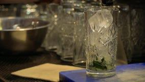 侍酒者放冰立方体入鸡尾酒杯 股票视频