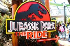 侏罗纪公园乘驾标志板 图库摄影