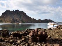 侏罗纪小山,伟大的珊瑚近的海滩在Padar海岛,科莫多岛海岛,印度尼西亚 库存图片