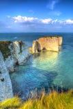 侏罗纪海岸白垩堆积老哈里岩石多西特在Studland东部的英国英国象绘画 图库摄影