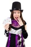 供人潮笑者服装的俏丽的女孩有被隔绝的卡片的 库存照片