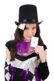 供人潮笑者服装的俏丽的女孩有被隔绝的卡片的 图库摄影