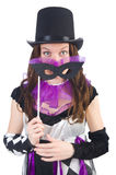 供人潮笑者服装的俏丽的女孩有面具的 免版税库存照片