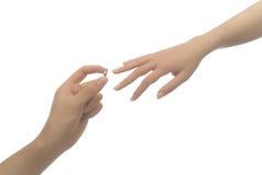 供以人员产生定婚戒指妇女 免版税库存图片
