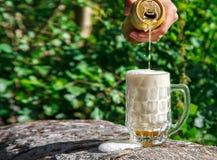 供以人员从瓶子的倾吐的啤酒入杯子 免版税图库摄影