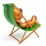 供以人员休息的海滩轻便折叠躺椅太阳镜微笑的字符 向量例证