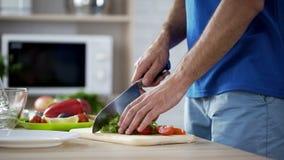供以人员准备新鲜蔬菜沙拉,健康吃的切口蕃茄和莴苣 免版税库存照片