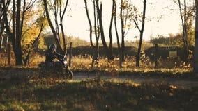 供以人员在森林乡下公路的乘坐的老习惯咖啡馆竟赛者摩托车在日落 被稳定的射击 影视素材