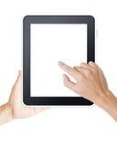 供以人员在现代数字式片剂的现有量触摸屏 库存照片